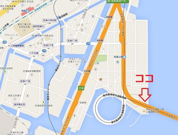 港区立芝浦南ふ頭公園運動広場の地図